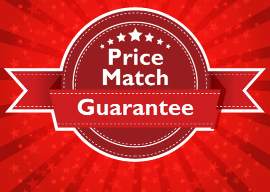 """Badge reading """"Price Match Guarantee"""" warning against competing on price alone."""